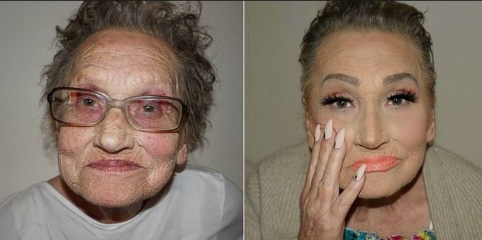 80 year old grandma before and after makeup pictures